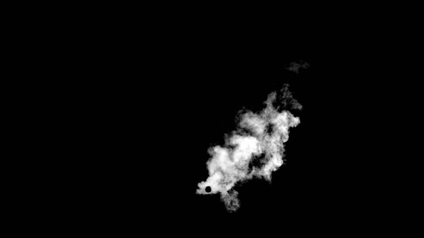 Professionally filmed real VFX pipe smoke on black overlay for compositing. 4K RED