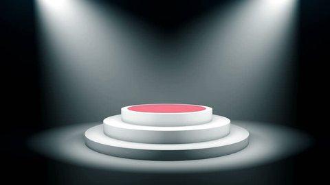Empty round podium, pedestal or platform with red carpet illuminated by volume spotlights. Set of bright searchlights on black background. Digital 3d animation.