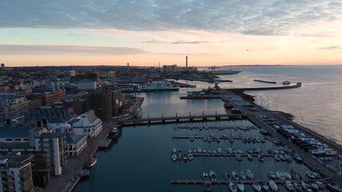 Helsingborg, Helsingborg / Sweden - 01 04 2019: Aerial of Norra Hamnen, Helsingborg