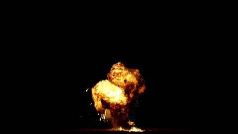 Giant real gas explosion professionally filmed VFX on black overlay for compositing. 4K RED