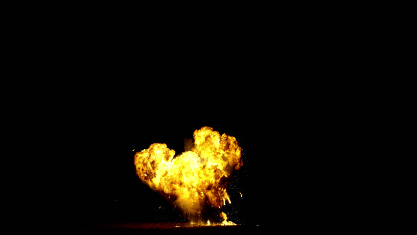 Giant real gas explosion professionally filmed VFX on black overlay for compositing. 4K RED | Shutterstock HD Video #1025550173