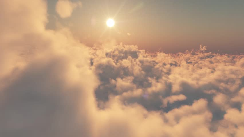 Seamless 3D simulation of flying over the clouds at sunset