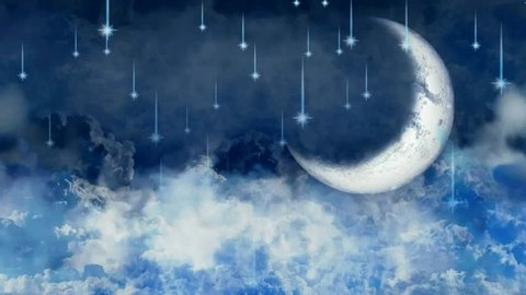 best night sky shooting stars and light moon, best loop video background to put a baby to sleep, calming relaxing