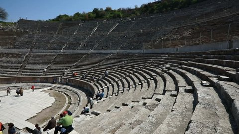 Ephesus Turkey Izmir, ancient theatre in Ephesus, historical place in Turkey, Aegean old civilizations