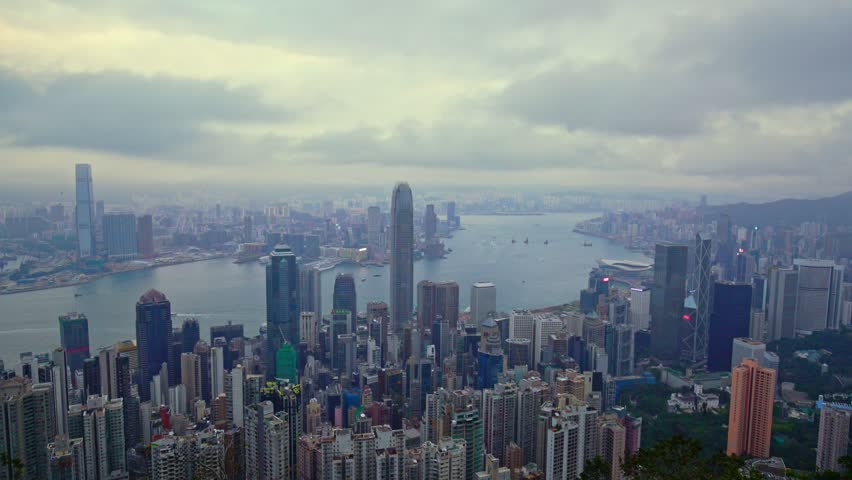 TL Hong Kong City skyline day time view from Victoria Peak., Lockdown, Time-Lapse. | Shutterstock HD Video #1025732963