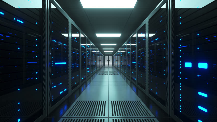Network and data servers behind glass panels in a server room of a data center or ISP. Forward Dolly Shot, 4K High Quality Animation | Shutterstock HD Video #1025735363