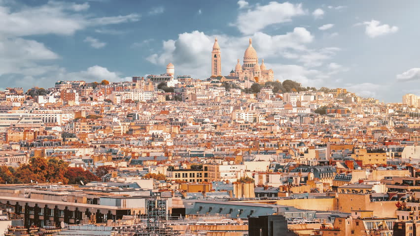 Time lapse of Sacre Coeur on top of Montmartre hill. Paris, France.   Shutterstock HD Video #1025737883