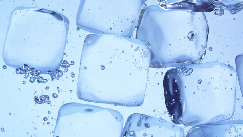 Close up slow motion movement of stacked ice cubes under water | Shutterstock HD Video #1025764193