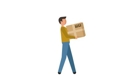 Stick Figure Pictogram Man Deliveryman carries the box Character Flat Animation