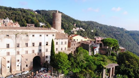 Aerial view of amazing landscape of the old town Nemi near a Rome. Drone flies over the roofs. Travel destinations in Lazio, Italy.