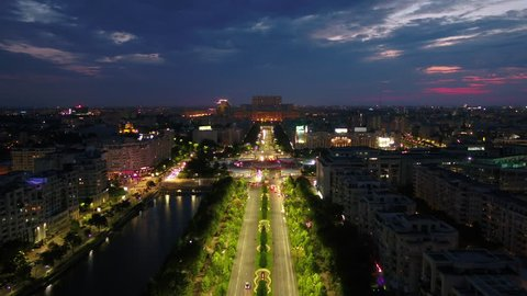 Aerial video of downtown Bucharest in Romania at night