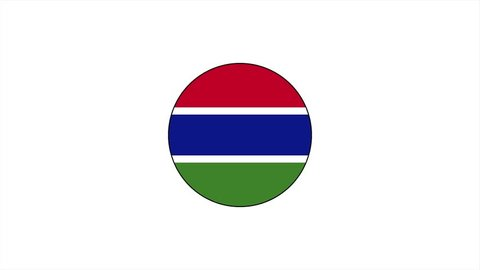 Gambia country flag animation. Cartoon flag icon animation.