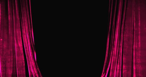 Real Velvet Cloth Stage Cinematic pink silk Curtain open footage. Curtain For theater, opera, stage scenes. This opening curtain are shooted on Red Camera - slow motion. Real Cinematic Curtain.