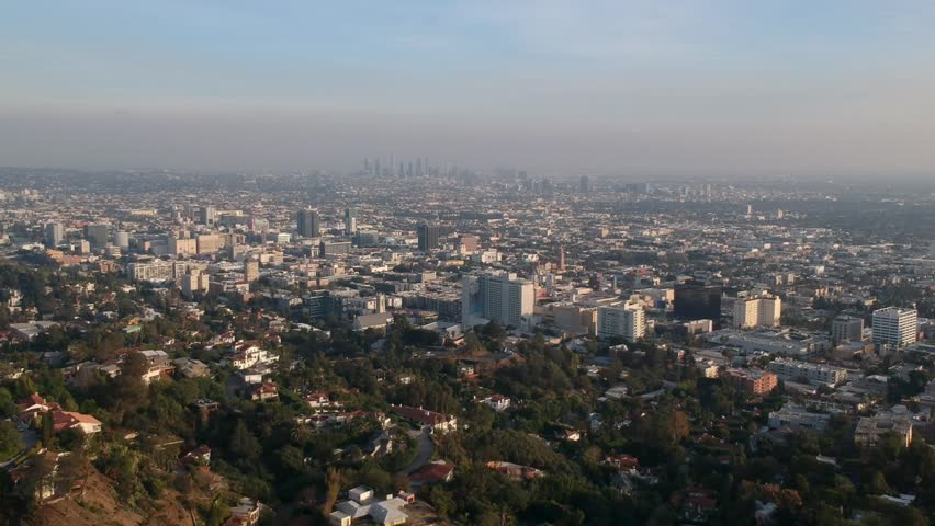 Aerial view of hollywood runyon canyons | Shutterstock HD Video #1025927093