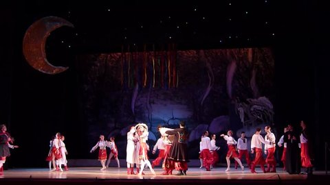 DNiPRO, UKRAINE - JANUARY 7, 2018: Night before Christmas ballet  performed by members of the Dnipro Opera and Ballet Theatre