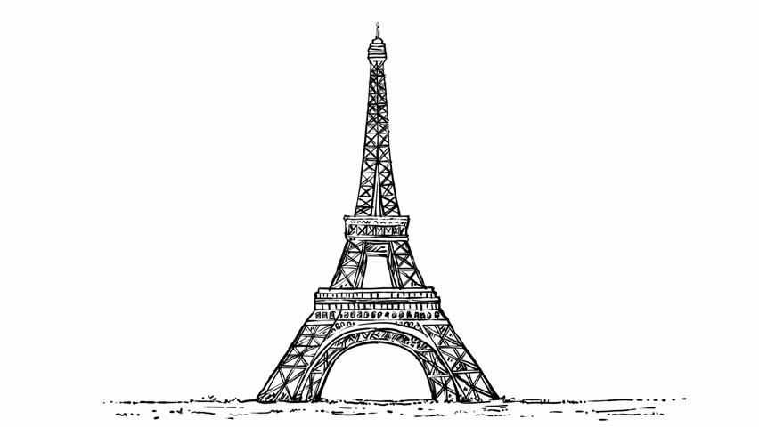 Sketch animation of Eiffel Tower Paris, france    Shutterstock HD Video #1025939453