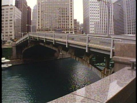 CHICAGO, ILLINOIS, 1994, Drawbridge rising over Chicago River