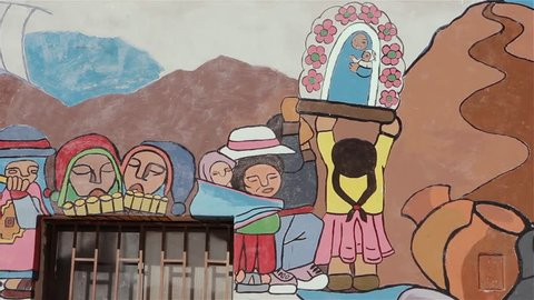 Altiplano Region / Argentina - 20 January 2019: Paintings on the Wall of a School in the Altiplano.