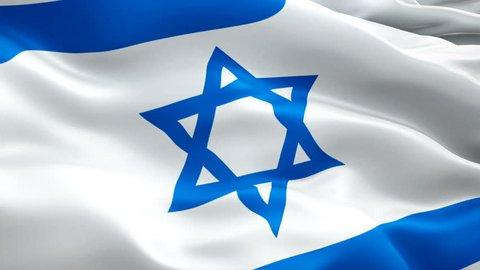 Jewish flag Closeup 1080p Full HD 1920X1080 footage video waving in wind. National 3d Jewish flag waving. Sign of Israel seamless loop animation. Jewish flag HD resolution Background