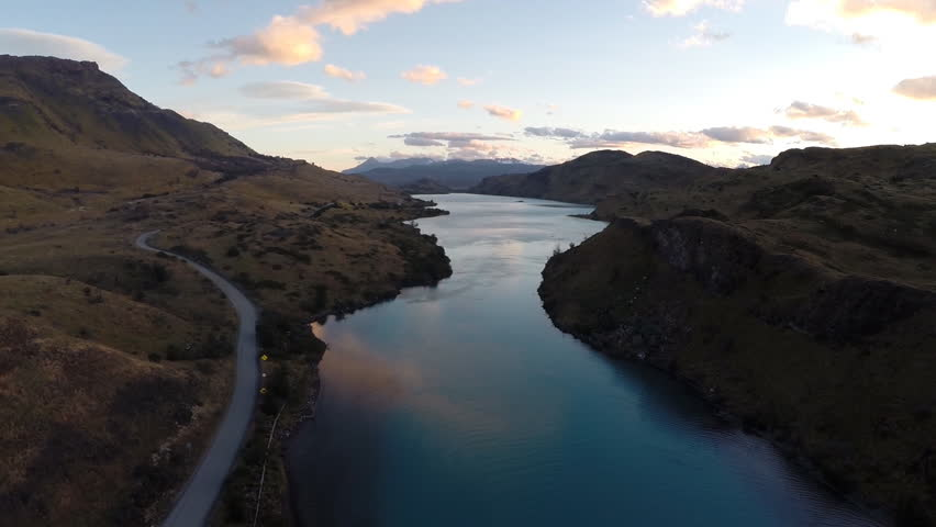 Aerial shot of river in Patagonia, Chile | Shutterstock HD Video #1025977553
