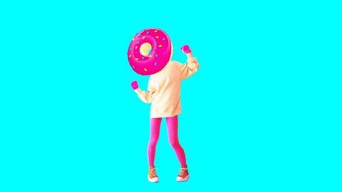 Minimal animation design. Donut dancer Girl. Donut mood. Fast food gif art
