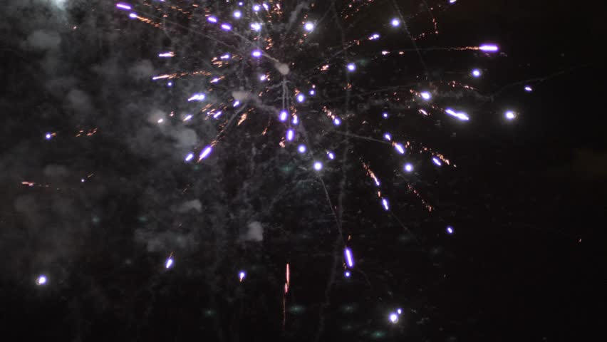 Dazzling fireworks are radiating the night skyline   Shutterstock HD Video #1026048353