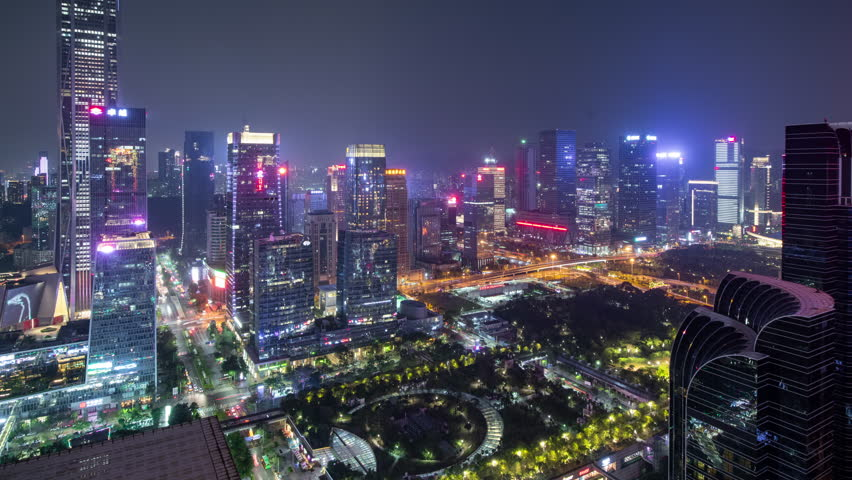 March 3, 2019, in the business district of downtown Shenzhen at night | Shutterstock HD Video #1026055793