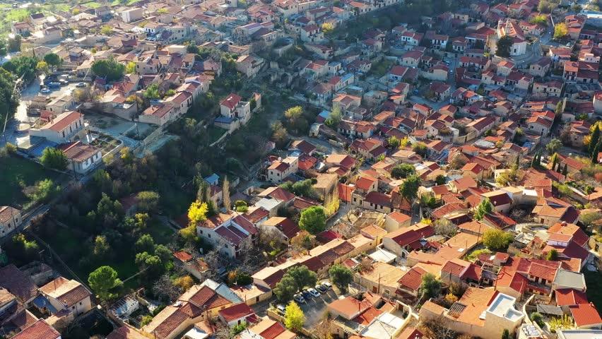 Bird's-eye view of Lofou village. Limassol District, Cyprus   Shutterstock HD Video #1026075413