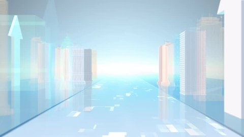 The tech city building background is a motion graphics background. High-tech urban architecture, future digital development, holographic projection, statistical chart animation, Technology ground.