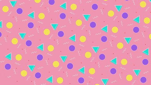 multicolor geometric shapes pattern in retro, memphis 80s - 90s style. Animated vintage abstract background.