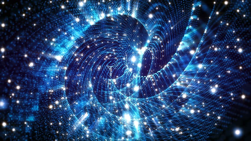 4K Abstract motion background animation shining particles stars sparks and magic dust forming in space twisted rotating regular pattern with light rays and projections seamless loop   Shutterstock HD Video #1026112883