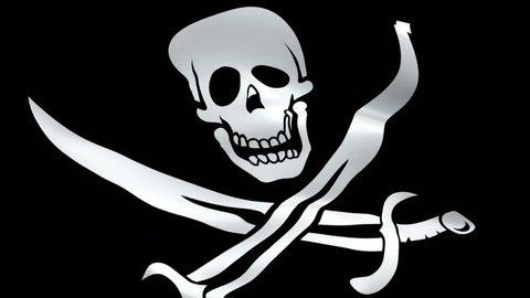 Skull flag Closeup 1080p Full HD 1920X1080 footage video waving in wind. Official Crossbones Jolly Roger 3d Blackjack flag waving. Seamless looping pirate flag with skull and swords Blackjack flag