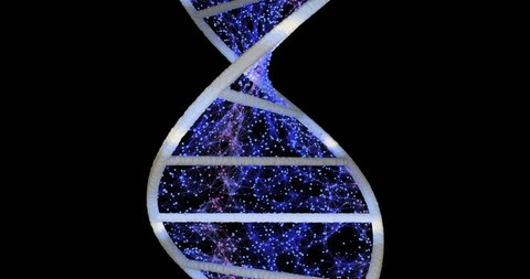 Rotation of the DNA helix. Digital molecule model with plexus filling space. Scientific medical background. Microbiology research.