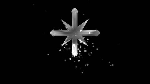 Silver scientology cross on transparent background. Appearance from glitter silver particles effect. Stardust cloud. Glitter effect. 4k video with alpha channel.