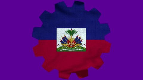 Haiti Gear Flag Loop - Realistic 3D Illustration 4K - 60 fps flag of the Haiti - waving in the wind. Seamless loop with highly detailed fabric texture. Loop ready in 4k resolution