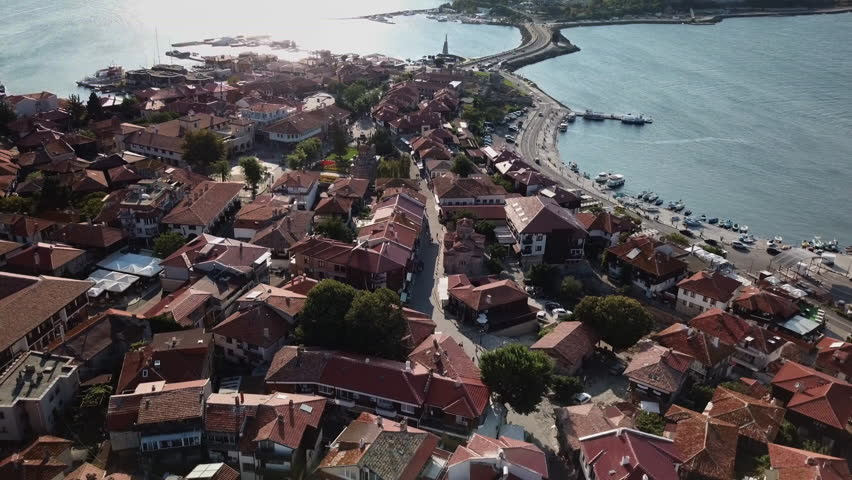 Aerial view of Nessebar, ancient city on the Black Sea coast of Bulgaria, UNESCO World Heritage, view from old city to the new