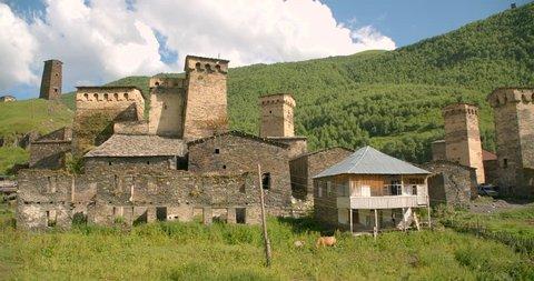 Static wide of the stone medieval fortified Svaneti tower houses of  Ushguli, Upper Svaneti, Samegrelo-Zemo Svaneti, Mestia, Georgia.