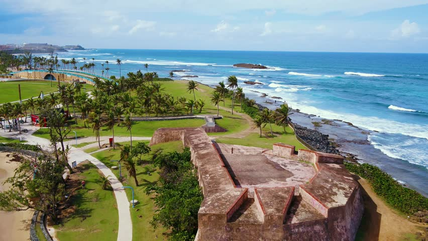 Beautiful beach near old San Juan, Puerto Rico post Hurricane Maria