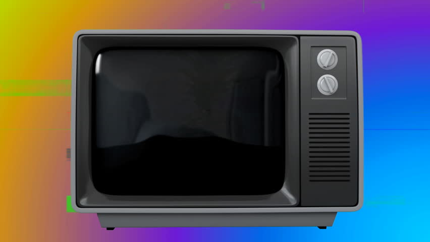 Digital animation of an old TV with a pineapple on the screen against a colored blurring in the background. | Shutterstock HD Video #1026413513