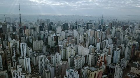 Incredible aerial shot of morning in office centre downtown Sao Paolo and Paulista avenue in Brazil