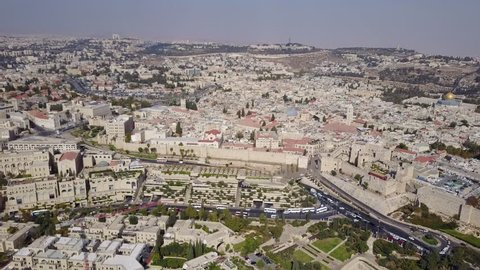 Long shot of Christian and Muslim Quarters, Mamilla shopping mall, Jaffa Gate and the Tower of David in the Old City of Jerusalem.