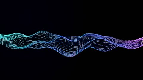 Abstract loop 3d animation with moving wave of silver balls on the black background. Neon color, modern trendy design. 4k video.