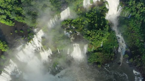 Aerial view of Iguazu Falls, monumental waterfalls on Iguazu River - landscape panorama of Brazil/Argentina border, South America