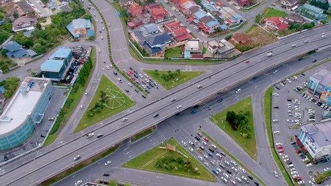 Diagonal angled aerial shot of the flyover in Kuching, Sarawak, Malaysia