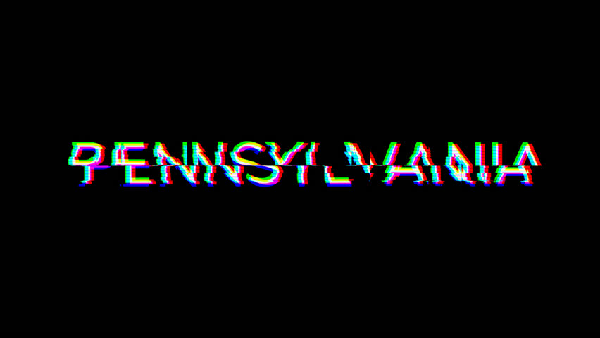 From the Glitch effect arises State Name PENNSYLVANIA. Then the TV turns off. Alpha channel Premultiplied - Matted with color black | Shutterstock HD Video #1026551543