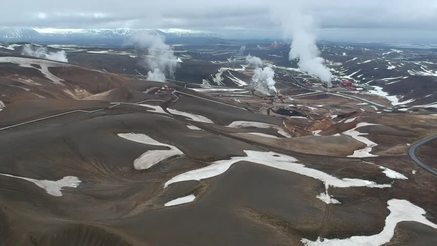 Steam and thermal springs (Iceland, aerial view) | Shutterstock HD Video #1026553073