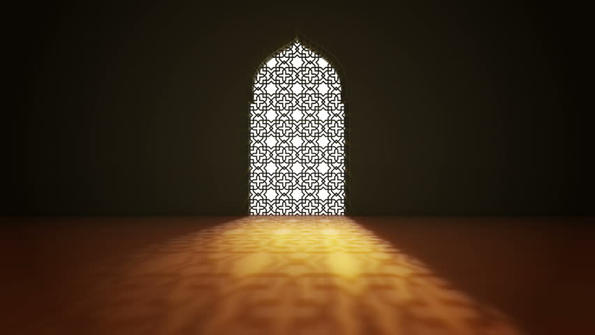 Islamic interior mosque window or door with beam of ray light coming inside . Ramadan Kareem islamic motion background. 3d animation. | Shutterstock HD Video #1026559433
