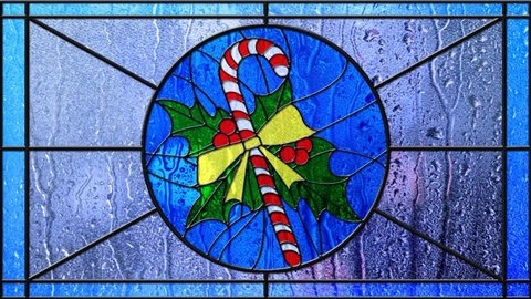 Stained Glass Christmas Candy Cane Rainy Day 4K Loop features a stained glass window with a central Christmas candy cane design with lights moving outside and rain trickling down the glass