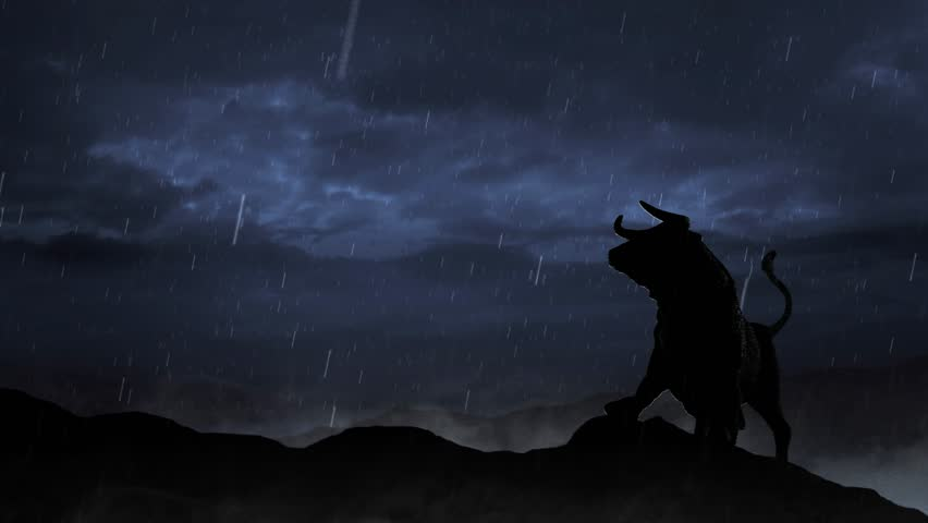 Stock Market Bull Silhouette in a Storm Loop features the silhouette of a the stock market bull on a hill with storm clouds behind and rain falling and mist at its feet