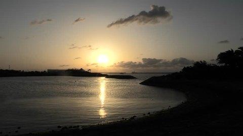 Japan Okinawa Naha Port at dusk